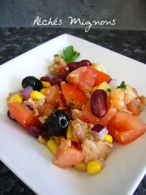 Salade, Thon, Tomates, Haricots rouges, Maïs,