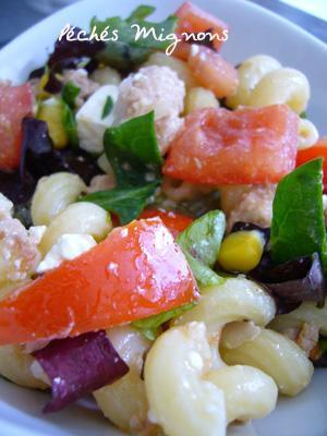 Féta, Fromage, Maïs, Pâtes, Rapide, Salade, Thon, Entrée froide, Salade