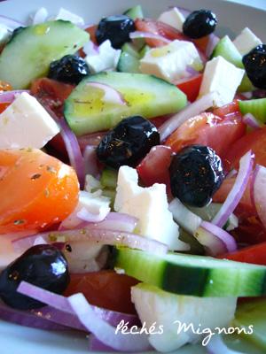 Grec, Salade, Entrée froide, Tomates, Concombre, Herbes, Rapide