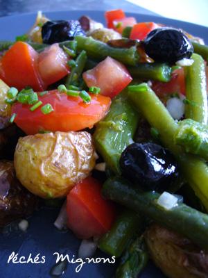 Entrée froide, Salade, Pommes de terre, Tomates, Haricots, Asperges