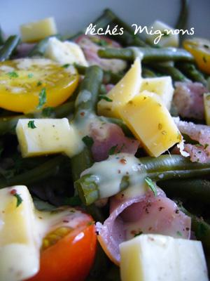 Haricots, Tomates, Fromage, Bacon, Entrée froide, Légère, Rapide