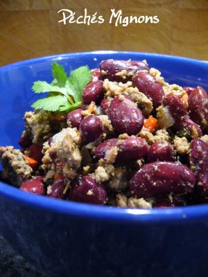 Boeuf, Coriandre, Epices, Haricots rouges, Herbes, Oignons, Piments, Poivron, Tomate, Tex Mex