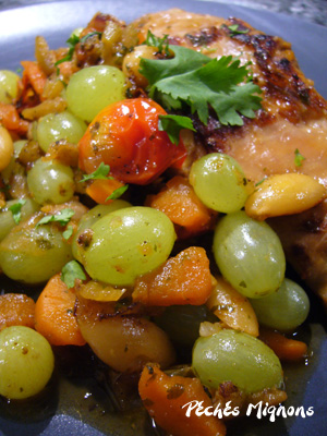 Lapin, Raisins, Fruits secs, Amandes, Epices, Céleri, Miel, Herbes, Carottes, Tomates