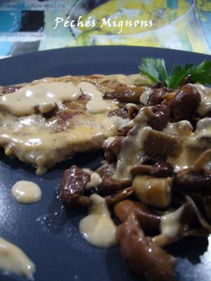 Champignons, Pleurotes, Mousserons, Crème, Veau