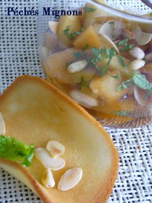 Amandes, Biscuits, Fruits secs, Menthe, Pignons, Poire, Pomme, Thé, Verrines