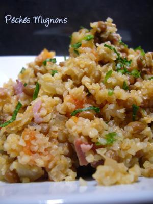 Rapide, Boulghour, Lentilles, Bacon, Tomates, Légère