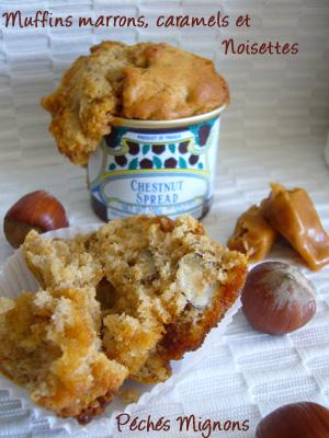 Caramels, Noisettes, Fruits secs, Farine, crème de marron, Muffins, Marrons,