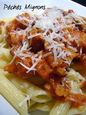 Rapide, Pâtes, Tomates, Tomates séchées, OIgnons, Lardons, Parmesan,