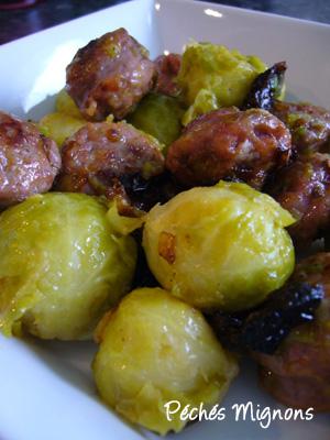Choux Bruxelles, Saucisses, Tomates séchées