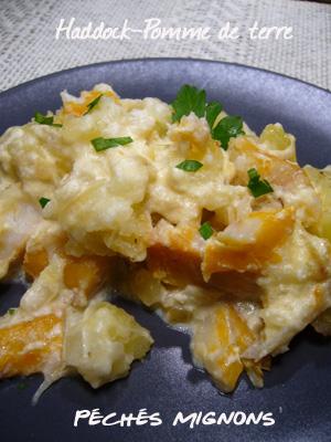 Haddock, Pommes de terre, Crème, Oignons, Parmesan, Rapide
