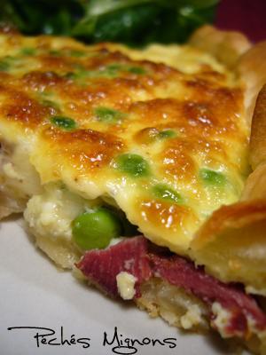 Canard, Crème, Légumes, Magret, Mozzarella, Oeufs, Petits pois, Rapide, Tartes salées