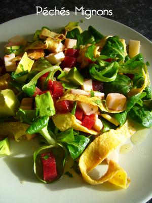 Salade, Mâche, Betterave, Coeur Palmier, Mozzarella, Entrée froide,