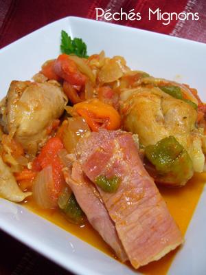Poulet, Poivron, Tomates, Epices, Paprika, Jambon sec, Légère