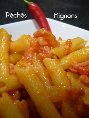 Rapide, Pâtes, Lardons, Tomates, Fromage, Pécorino, Piments, Italie
