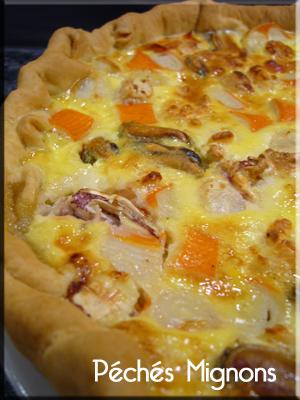 Entrée chaude, Tartes salées, Poisson, Fruits de mer, Pâte feuilletée, Crème, Oeufs, Rapide