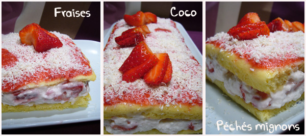 Crème, Fraises, Gâteau, Lait coco, Noix de coco, Oeufs, Sucre