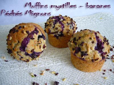 Rapide, Facile, Légère, Muffins, Sucre roux, Myrtilles, Oeufs, Banane,