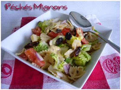 Tomates séchées, Pâtes, Tomates, Concombre, Entrée froide, Sucrine, Salade, Olives, Rapide, Facile, Moutarde ancienne, Mayonnaise, Oignons