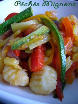 Gnocchis, Courgettes, Carottes, Poivron, Piments, Tomates, Rapide, Facile,