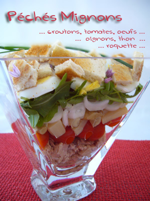Salade, Entrée froide, Facile, Rapide, Oeufs, Tomates, Asperges, Mayonnaise, Thon, Roquette,