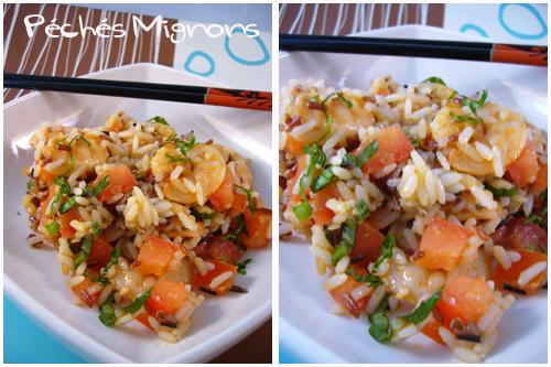 Rapide, Facile, Salade, Riz, crevettes, Entrée froide, Tomates, Basilic, Poivron, Epices, Paprika, Citron,