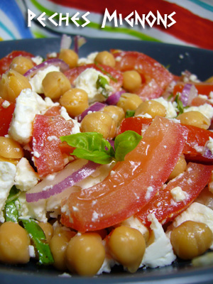 Grec, Tomates, Rapide, Facile, Pois chiche, Féta, Fromage, Oignons, Basilic, Entrée froide,