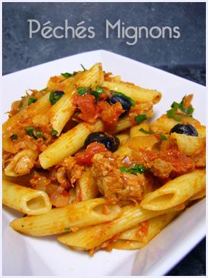 Pâtes, Thon, Tomates, Rapide, Facile, Olives, Oignons,