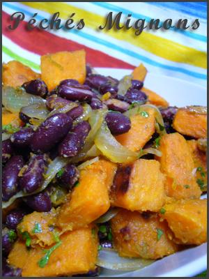 Patate douce, Haricots rouges, Oignons, Citron vert, Ail, Antilles, Epices, Cumin, Coriandre, Facile,