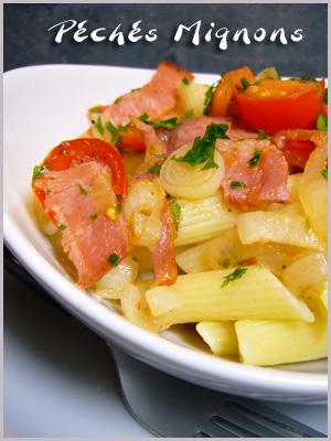 Rapide, Facile, Légère, Pâtes, Tomates, Bacon, Oignons, Persil, Herbes,