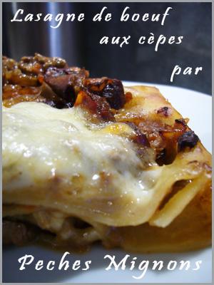 Lasagne, Boeuf, Mozzarella, Cèpes, Parmesan, Crème, Tomates,