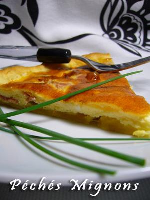 Pâte brisée, Entrée chaude, Oeufs, Crème, Fromage, Chèvre, Petit Billy, Jambon sec, Facile, Rapide,