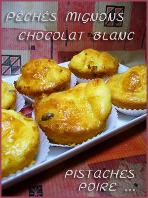 Muffins chocolat blanc, pistaches et poires (légers)