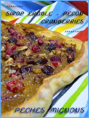 Beurre, Cranberries, Facile, Farine, Fruits secs, Noix, Noix pécan, Sirop érable, Sucre roux, Tartes sucrées