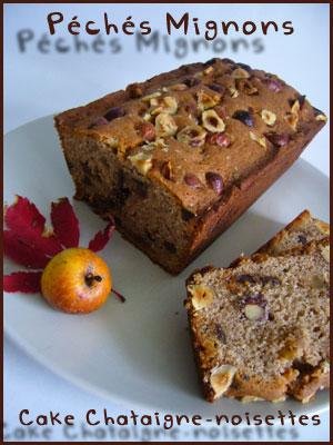 Cake, Farine de châtaigne, Farine, Noisettes, Fruits secs, Fruits confits, Oeufs, Beurre, Sucre glace, Facile,