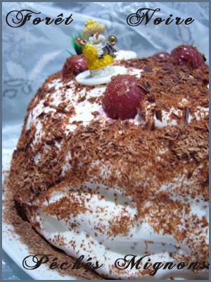 Chocolat noir, Chocolat, Cacao, Farine, Fécule de pomme de terre, Beurre, Sucre, Oeufs, Alcool, Kirsh, Griottes, P.Hermé,