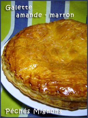 Galette, crème de marron, Poudre amande, Beurre, Sucre, Oeufs, Pâte feuilletée, Facile, Rapide,