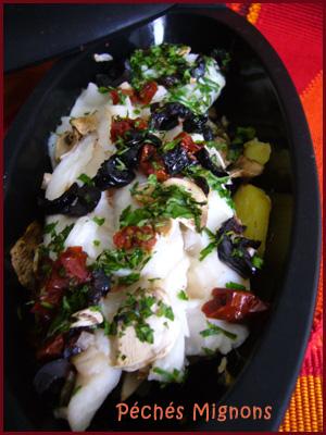 Cabillaud, Olives, Tomates séchées, Pommes de terre, Champignons, Persil, Facile, Légère, Vin,