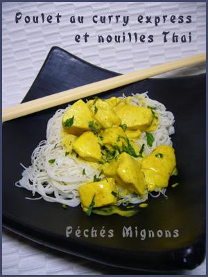 Vermicelle de riz, Poulet, Lait coco, Curry, Epices, Facile, Rapide, Légère, Herbes, Coriandre, Asie,