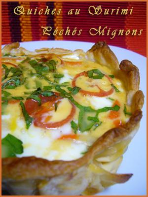 Tartes salées, Surimi, Tomates, Lait concentré, Oeufs, Légère, Pâte feuilletée, Moutarde, Persil, Facile,