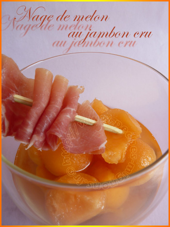 Nage de melon au jambon cru