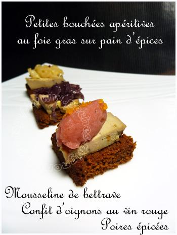Bouchées apéritives au foie gras sur pain d'épices....